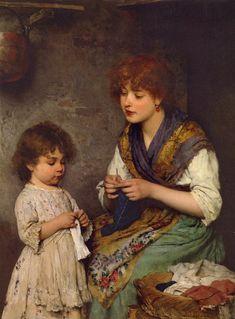 The Knitting Lesson by Eugene von Blaas (1843-1931,Italian-born Austrian)