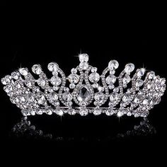 Queen Crystal Tiara Crowns Headband Rhinestone Drop Wedding Bridal Hair Jewelry - BUY NOW ONLY 14.99