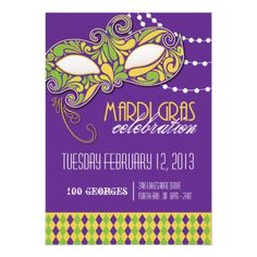 Mardi Gras Party Invitation. Fully Customizable. Designed by Colourful Designs Inc. Copyright 2013