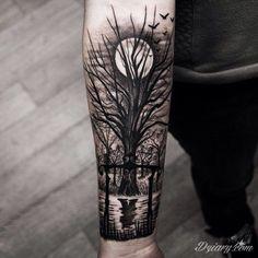Fajny tatuaż na przedramieniu ... | Dziary.com http://dziary.com/post/5481-tatuaz-tatuaz-na-przedramieniu-noc-drzewo?ref=main