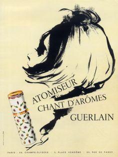Guerlain (Perfumes) 1963 Atomizer, Chant d'Arômes Vintage advert Perfumes | Hprints.com