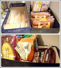 "Use shoeboxes (or the plastic ones from $ Tree) to freeze baking supplies and other ""loose"" items in freezer"