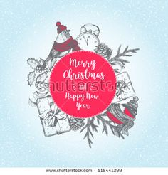 Vector Christmas circle concept. Vintage elements for design. Vintage Xmas invitation card design. New year vector illustration. Linear graphic.