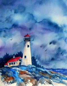 Watercolor Lighthouse with Stormy Sky by Martha Kisling via Etsy