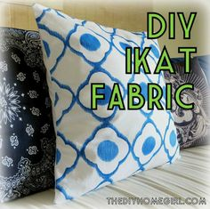 DIY Ikat Fabric Tutorial reverse faux pattern cobalt royal blue navy white envelope pillow covers sewing living room makeover fabric markers...