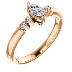 Inel de logodna din aur cu diamant marquise si diamante 71754DIMDI