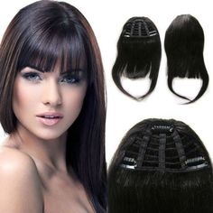 Clip In On Virgin Human Hair Seamless Bangs Fringe Extensions Natural Black in Fragrances, Beauty & Health, Hair Care, Styling Accessories Weft Hair Extensions, Real Human Hair Extensions, Clip In Hair Extensions, Fringe Hairstyles, Hairstyles With Bangs, Straight Hairstyles, Hair Weft, Remy Hair, Brazilian Hair