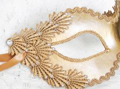 Metallic Gold Masquerade Mask With Rhinestones And by SOFFITTA