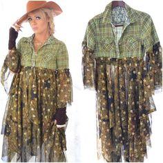 Gypsy rose, bell sleeve, winter duster, plaid dress, moon goddess, green kimono dress, bohemian clothes, Boho Goddess, Holiday jacket, Holiday