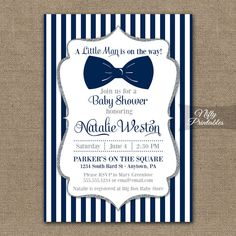 Bow Tie Baby Shower Invitations - Printable Navy Blue & Silver Baby Shower Invites - Boy Bowtie Baby Shower Invitation - Blue and White NSG by NiftyPrintables on Etsy https://www.etsy.com/listing/192290923/bow-tie-baby-shower-invitations