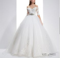 Exquisite sweetheart neckline off shoulder half sleeves ball gown lace winter wedding dress chapel train ET14034