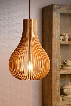 Lucide Bodo Ceiling Pendant Light - Light wood from Online Lighting. Light, Wood Lamp Design, Wooden Pendant Lighting, Lamp, Lighting Inspiration, Home Lighting, Pendant Lamp, Wood Pendant Light, Wooden Lamp