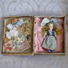 Sweet German All Bisque Doll in Presentation Box from joan-lynetteantiquedolls on Ruby Lane
