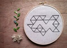 Geometric Hand Stitched Embroidery Hoop Art by powerfulanimals, $25.00