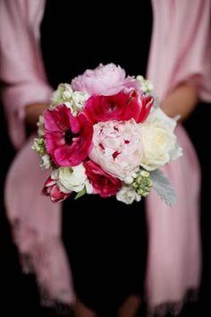 pink peonies, ranunculus, tulips, roses, stock, dusty miller