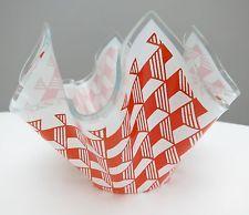 Rare!! Chance Handkerchief - Art Glass Vase - Carre - 70s Op art Rare Pattern