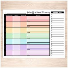 Printable weekly meal planning pages with a rainbow color scheme. The days of the week are multicolored to visually separate them. Page includes grocery list.
