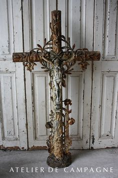 """North France Early 1900's Size 48"""" H x 26""""W.  #23/004 Cast Iron Cemetery Cross"""