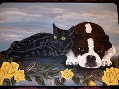 Custom paining done for birthday gift on old wooden box (cat and beagle/boston terrier mix) by Julie Baker-Lowden. See more of my work at https://www.facebook.com/MyArtsyFartsySelf