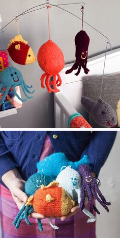Free Knitting Pattern for Under the Sea Mobile - Five fun sea creatures make up this adorable mobile perfect for baby! Knit the jellyfish, octopus, squid, whale, and fish, then hang from yarn covered dowels or wire. Designed by Allyson Dykhuizen. Pictured project by lavs