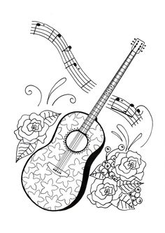 guitar coloring pages 9 | Coloring Pages for Adults | Pinterest ...