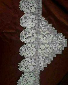 Crochet Borders, Filet Crochet, Baby Knitting Patterns, Crochet Patterns, Crochet Dollies, Crochet Curtains, Thread Work, Cross Stitch Flowers, Diy And Crafts