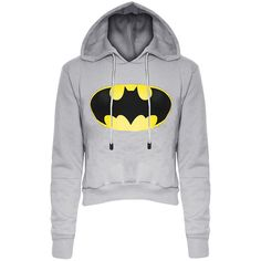 Womens Long Sleeve Color Block Batman Fleece Cropped Hoodie Gray (40 RON) ❤ liked on Polyvore featuring tops, hoodies, shirts, jackets, sweaters, grey, hooded sweatshirt, sweatshirt hoodies, hoodie shirt and long sleeve crop top