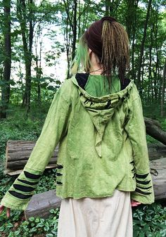 cut out tie dye jacket, outerwear, hippie, fairy, nature, wood, elven, forest
