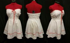 This Creation Chronicle laments the stress of exams and revel in the joy of a polkadot dress. Contact us for your own custom polkadot dress. Bustier Dress, Strapless Dress, Dress Up, Polka Dot Fabric, Black Fabric, Plain Black Background, Bias Tape, Red Heels, Body Shapes