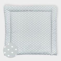 miniFifia Wickelauflage weiße Herzen auf Grau breit 75 x tief 70 cm