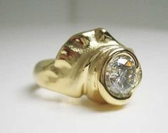 yellow gold ring with diamond by Hanna Cook-Wallace. Natural Curves, Gold Rings, Designers, Cook, Jewels, Jewellery, Gemstones, Yellow, Diamond