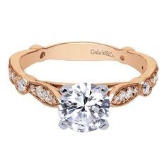 14k Rose Gold 1.37cttw Bead Set Round Diamond Engagement Ring from Mullen Jewelers