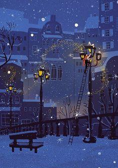 Illustration Noel, Winter Illustration, Christmas Illustration, Posca Marker, Art Mignon, Winter Art, Christmas Aesthetic, Christmas Wallpaper, Winter Scenes