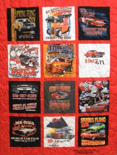 """Check this out...Spring Fling Cars t-shirts quilt! Customer's quote: """"After my husband passed, I looked you up on internet. He has a lot of t-shirts. What better way to have children, grandchildren, sister & myself have something of his to cuddle with. Love you guys. Thank you."""" If you want more information and pricing, please check us out at www.tshirtquilts.com! #keepsakethemequilts  #tshirtquilts #quilts #springfling #musclecars #musclecar #car #cars #carsclub #racing #sportscar #carshow"""