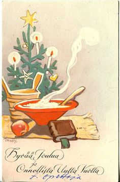 Martta Wendelin Vintage Christmas Cards, Retro Christmas, Xmas Cards, Christmas Art, Christmas And New Year, Holiday Cards, Winter Art, Scandinavian Christmas, Christmas Inspiration