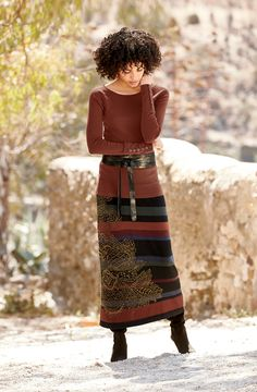 Such rich, beautiful colors! Gingerlily Skirt, Regiment Top, Bronze Leather Wrap Tie Belt