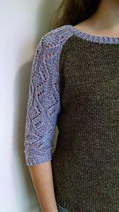 Ravelry: Mombos' Laceball Sweater - raglan sweater with lace 3/4 sleeves FREE knitting pattern: Jasseron by Becky Wolf (hva)