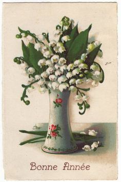 French postcard  Lily of the valley in a by EphemeraUniversalis, $3.95