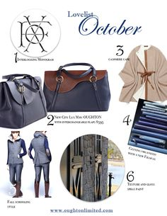 Oughton's LoveList this October Travel Accessories, Fashion Accessories, Gloss Spray Paint, Cashmere Cape, Equestrian Chic, New City, Luxury Bags, October, Monogram