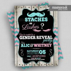 Staches or Lashes Gender Reveal Invitations Baby by NuanceInk