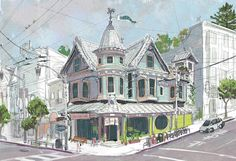 """""""Don wanted a Queen Anne Victorian, with a bakery or a cafe beneath it. That was the first thing I drew; and, through all the changes to the interior, the exterior stayed pretty true to that drawing."""" -Scott Watanabe, Big Hero 6 art director, environments"""