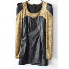 $11.01 Sexy Scoop Neck Snake Skin Pattern Long Sleeves Imitate Leather Club Dress For Women