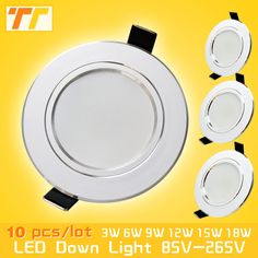 10pcs/lot led downlight lamp 3w 5w 7W 9w 12w 15w 18w 230V / 110V ceiling recessed downlights round led panel light free shipping