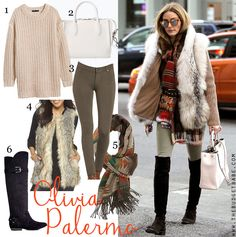 Dress by Number: Olivia Palermo's Fur Vest and Over-the-Knee Boots