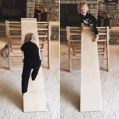A climbing and sliding ramp for the Pikler triangle! The ramp can be placed on any rung making it height adjustable for exploration for both children. Simon will enjoy it at lower angles now and gradually explore it at steeper angles. Charlotte loves...