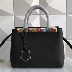 740b5676042d Fendi Calfskin 2Jours Bag With Multicoloured Studs Black 2017