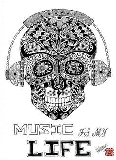 Music Is My Life Skull and Headphones Ornate by WesleyWrenArt