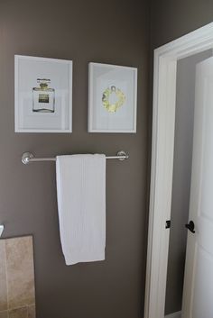"""Liking the colour of the bathroom walls. The color is called """"Sienne"""" by Valspar. It's a very dark gray with brownish undertones."""