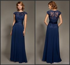 2015 Elegant Floor-Length Bridesmaid Dresses Lace Appliques Sheer Cap Sleeve Wedding Party Dress Chiffon Covered Buttons Back Formal Dress