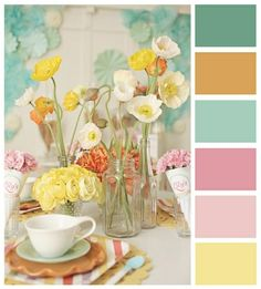 color palette I love the soft colors of this palette, i would love to see the colors and floral idea combined in a design for shoes. Whether they're for stage or just fashion I think a ballet flat with this style would be really cute. Colour Pallete, Colour Schemes, Color Combos, Color Palettes, Paint Palettes, Colour Board, Mellow Yellow, Color Inspiration, Flower Arrangements